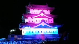 ライトアップされた弘前城